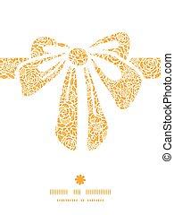 złoty, sylwetka, koronka, dar, próbka, ułożyć, łuk, róże, wektor