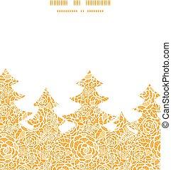 złoty, sylwetka, koronka, próbka, ułożyć, drzewo, róże, wektor, szablon, kartka na boże narodzenie