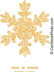złoty, sylwetka, koronka, próbka, ułożyć, płatek śniegu, róże, wektor, szablon, kartka na boże narodzenie