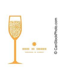 złoty, sylwetka, koronka, szkło, próbka, ułożyć, róże, wektor, wino
