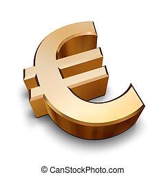 złoty, symbol, 3d, euro