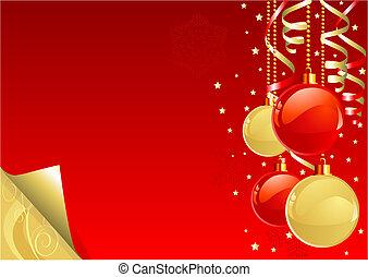 złoty, tło, boże narodzenie, czerwony