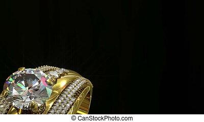 złoty, tło, czarnoskóry, obracać, ring, kobiety