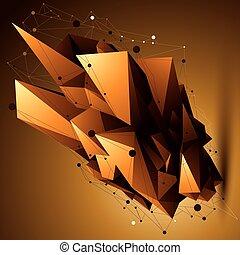 złoty, techniczny, wireframe, object., formułować, polygonal, jasny, przestrzenny