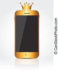 złoty, telefon, ruchomy, screen., realistyczny, wektor, czarnoskóry, nowy, illust