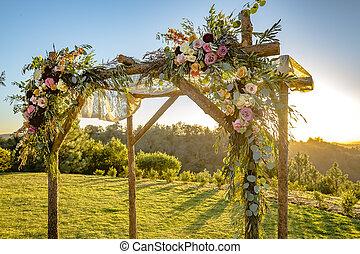 złoty, tradycje, żydowski, lekki, huppah, chuppah, ślub, baldachim, albo, ceremony.