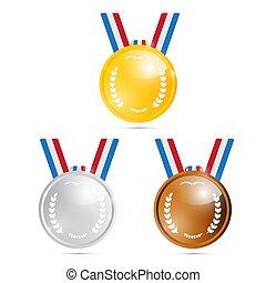 złoty, trzeci, srebro, pierwszy, drugi, brąz, wektor, medals...