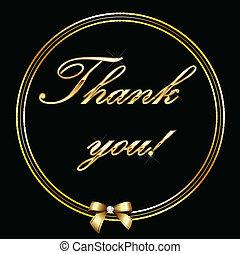 złoty, ty, karta, litera, dziękować