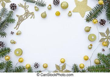 złoty, ułożyć, jodła, przestrzeń, lay., stożki, sosna, tło., białe boże narodzenie, płaski, świąteczny, kabiny, ozdoby, kopia, gałęzie, robiony, dar, girlandy, stół., górny prospekt
