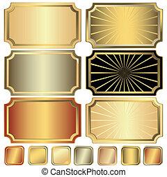 złoty, ułożyć, zbiór, srebrzysty