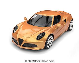 złoty, wóz, górny, -, lekkoatletyka, na dół, luksus, metaliczny, prospekt
