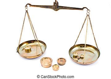 złoty, waga, ciężary, skalpy