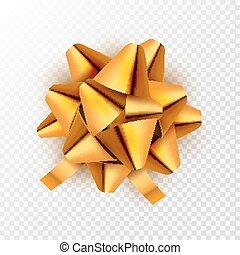 złoty, wektor, card., dar, świąteczny, isolated., ilustracja, łuk, ozdoba, urodziny, złoty, święto, wstążka, celebrowanie