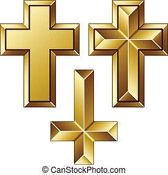 złoty, wektor, chrześcijanin, masywny, krzyże