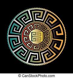 złoty, wektor, czarnoskóry, próbka, starożytny, okrągły, ornament., o, błękitny, meandry