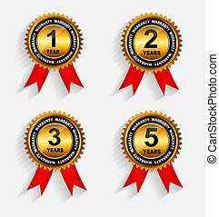 złoty, wektor, gwarancja, komplet, ribbon., czerwony, etykieta