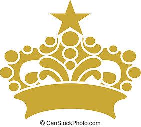 złoty, wektor, korona, clipart, tiara