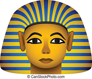 złoty, wektor, pharaoh, maska, egipcjanin