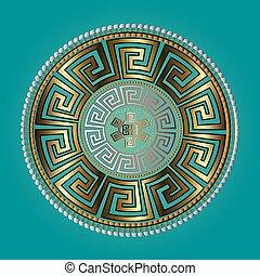 złoty, wektor, próbka, starożytny, okrągły, ornament., błękitny, meandry