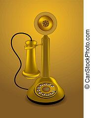 złoty, wektor, retro, telefon
