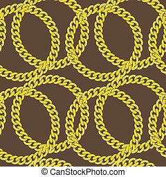 złoty, wektor, seamless, łańcuch