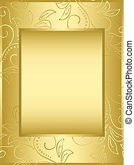 złoty, wektor, ułożyć, z, kwiatowy, tło