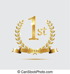 złoty, wieńce, lekki, symbol, rocznica, symbol., 1, tło., wektor, projektować, rok, laur, wstążki, element., pierwszy