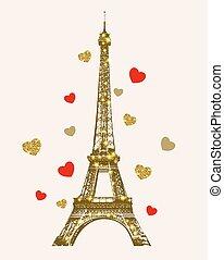 złoty wieża, eiffel, lustrzany, serca