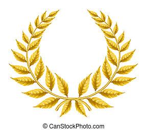złoty, wieniec, eps10