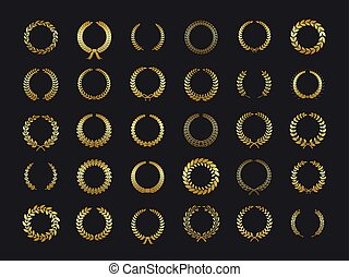złoty, wieniec, pszenica, złoty, heraldyka, laurels, liście, zwycięzca, dąb, nagroda, foliate, wektor, czarne tło, oliwka, laur, wreaths., rzeźnik