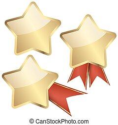 złoty, wstążki, gwiazda, szablon