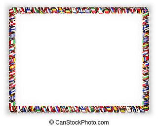złoty, wszystko, kraje, brzeg, ułożyć, zjednoczenie, ilustracja, bandery, rope., europejczyk, brzeg, wstążka, 3d