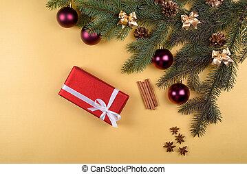 złoty, wtyka, boks, piłki, jodła, przestrzeń, górny, anyż, sosna, tło, gwiazdy, boże narodzenie, czerwony, płaski, space., szkło, wolny, tło, kopia, gałęzie, dar, drzewo, cynamon, pieśń, stożki, prospekt