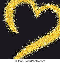 złoty, złote serce, kochany, afisz, glitter., text., dzień, żółty, powitanie, hand-drawn, ci, stardust, valentine`s, sand., miejsce, ślub, twój, karta, luksus