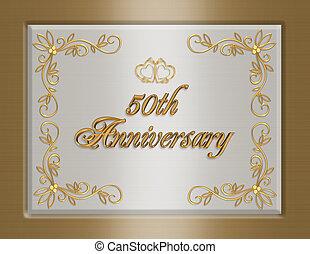 złoty, zaproszenie, rocznica, 50th, ślub