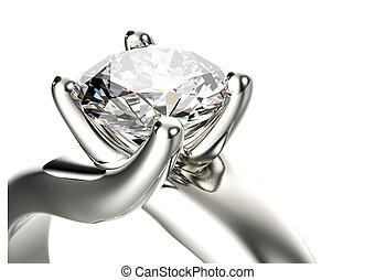 złoty, zaręczynowe kolisko, z, diament