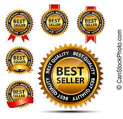 złoty, znak, sprzedawca, wektor, szablon, etykieta, ...