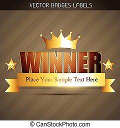 złoty, zwycięzca, etykieta