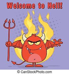 zły, na, diabeł, czerwony, płomienie