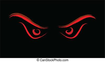 zły, oczy, dziki