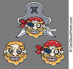 zły, pirat, kapitan, śmiech, twarze