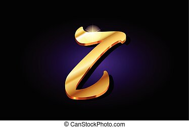 z alphabet letter golden 3d logo icon design