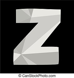 Z alphabet letter isolated on black