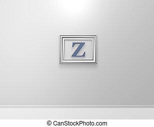 z art - picture frame with letter z on white wall - 3d...