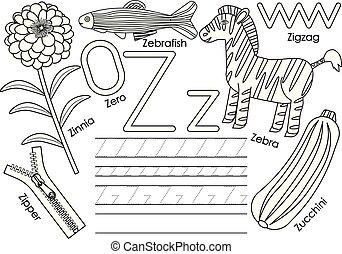 z., kleuren, leren, alfabet, practice., schrijvende , vector, book., brief, engelse , children., opleiding, illustration.