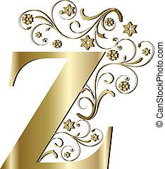 z, letra, ouro, capital