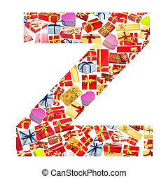 Z Letter - Alphabet made of giftboxes