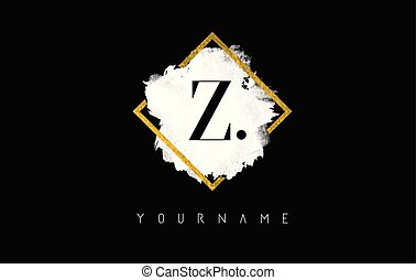 Z Letter Logo Design with White Stroke and Golden Frame.