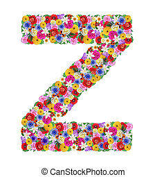 Z, letter of the alphabet in different flowers