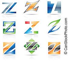 z, lustré, lettre, icônes